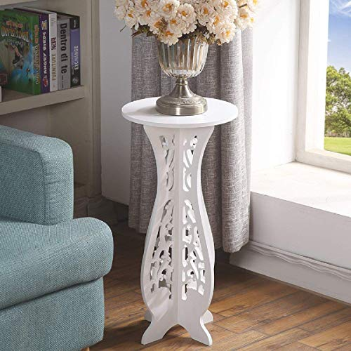 White Small Coffee Table Desk Wood Plastic Board Round Small Tea Corner Table Side End Occasional Lampe Plant Table Rack Stand Home Furniture Racks living room-60X40X31cm(Stand for Phone as Gift)