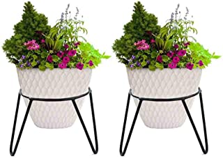 """Rise Round Iron Matka Stand Plant Pot Stand For Home Decor, Office, Garden, Balcony Decor, Kitchen - 7""""X7""""X7"""" Inch (Black, Pack Of 2)"""