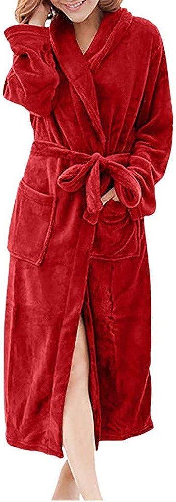 HebeTop Men's Womens Fleece Robe Ultra Soft Plush Shawl Collar 3/4 Length Long Bathrobe