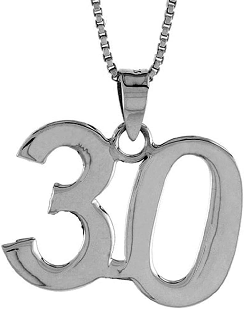 訳あり Sterling Silver Number 70%OFFアウトレット 30 Necklace Numbers Recovery Jersey for