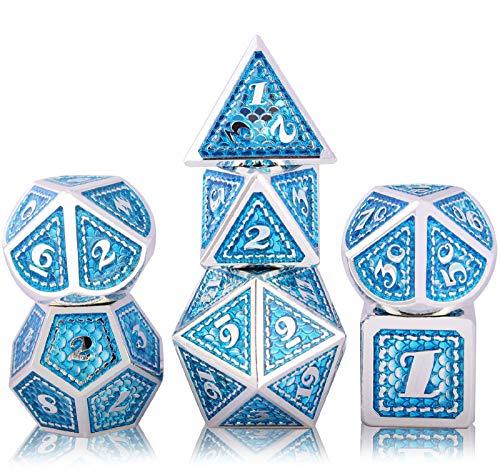 Schleuder D&D Dadi di Metallo Poliedrico Dice Set, DND Dadi da Gioco di Ruolo Set Dadi per Rpg Dungeons & Dragons Pathfinder Insegnamento della Matematica Gioco da Tavolo (Bright Silver - Light Blue)