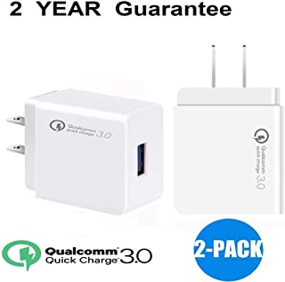 Quick Charge3.0 18W USB Wall Charger,2 Pack QC2.0 Charging Plug Universal Home Travel Power Adapter with Smart IC for iPhone Samsung S8/S7,Note8/7,LG,iPd,Sony,HTC&More