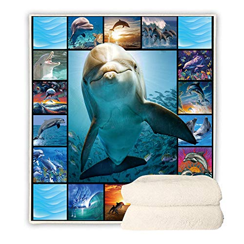BEDBLK 3D Dolphin Sherpa Throw Blanket Warm Soft Fleece Plush Sofa Couch Travel Bedding Decor Blankets for Adult and Kids All Season Use (Dolphin-1, 60'' x 50'')