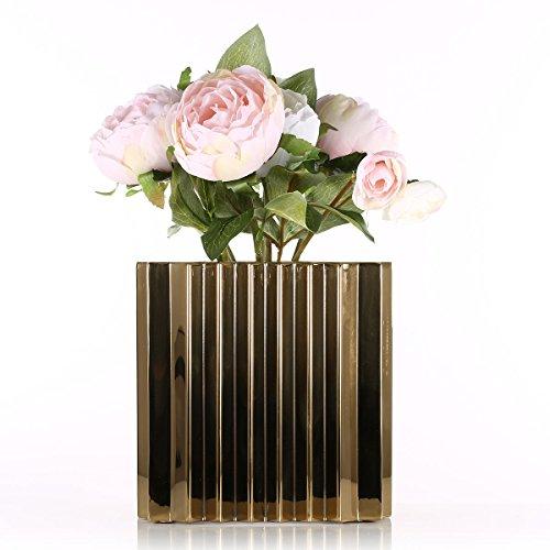 Tooarts Pot de Fleur de Jardin carrée avec Support en métal Motif Vague Style pour Plantes Jardinage intérieur