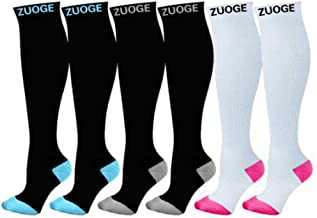 zuoge 6 Pairs Compression Socks Pack - Best Medical, Nursing, Travel & Flight Socks - Running & Fitness - 15-20mmHg