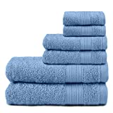 TRIDENT Juego Toallas - Soft & Plush - 100% algodón, 500 gsm, 6 Pieza Juego Toallas - 2 Toallas de baño, 2 Toallas de Mano, 2 paño de Lavado, súper Absorbente (Allur)