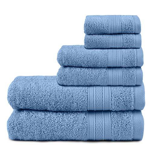 TRIDENT Juego de Toallas de baño, 100% algodón Juego de 6 Piezas Toallas de baño, súper Suaves, Muy absorbentes, 500 gsm, Lavables a máquina - Colección Suave y Felpa - Seducir