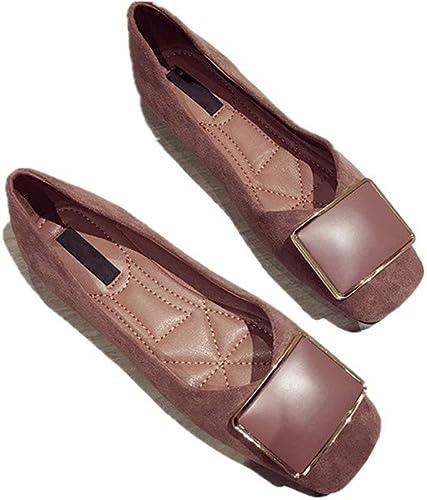 Mocassins Chaussures Simples Modèles Féminins à Ressort Tête Carrée Bouche Peu Profonde Boucle Carrée en Métal Chaussures à Bout Plat De Mode