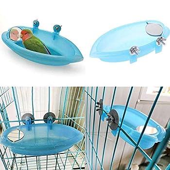 Uteruik Bain d'oiseau avec Miroir Jouet pour Animal Domestique Petit Moyen Perroquet Perroquet Cage Cockatiel Douche Bain Bain Alimentaire Bol
