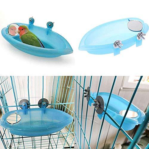 Uteruik - Jaula de baño para pájaros con Espejo, Juguete para Mascotas pequeñas tina, Medianas, periquitos, cacatúas, bañeras, comederos