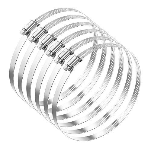 AILANDA 6 piezas Abrazadera de manguera Clips de manguera Abrazaderas de conducto de acero inoxidable con rango ajustable de 141 mm a 165 mm