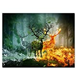 N / A Abstract Canvas Painting Fantasy Elk Forest Art Poster Composite Mural Picture Living Room Bedroom Decoration Frameless 40x60cm