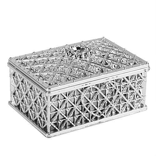 12 PCS Hollow Wedding Favor Boxes, Square Candy Boxes Small Treasure Chest Chocolate Gift Box for Wedding Birthday Party (Silver)