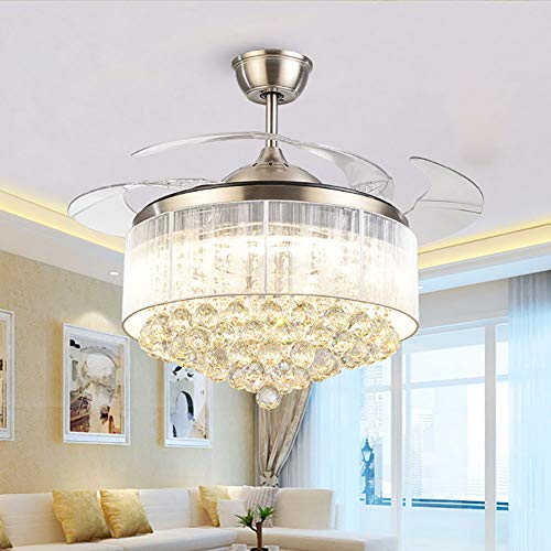 Modern Dimmable Fandelier Crystal Ceiling Fan with Lights and Remote Invisible Retractable Chandelier Fan Light LED Lighting-Polished Chrome 36 inch