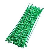 Bridas Para Cables 2,5 x 200 mm Verde 8 kg Resistencia a la Tracción Autoblocante Multifuncional Correa de Gestión de Cables de Nailon 100 Piezas