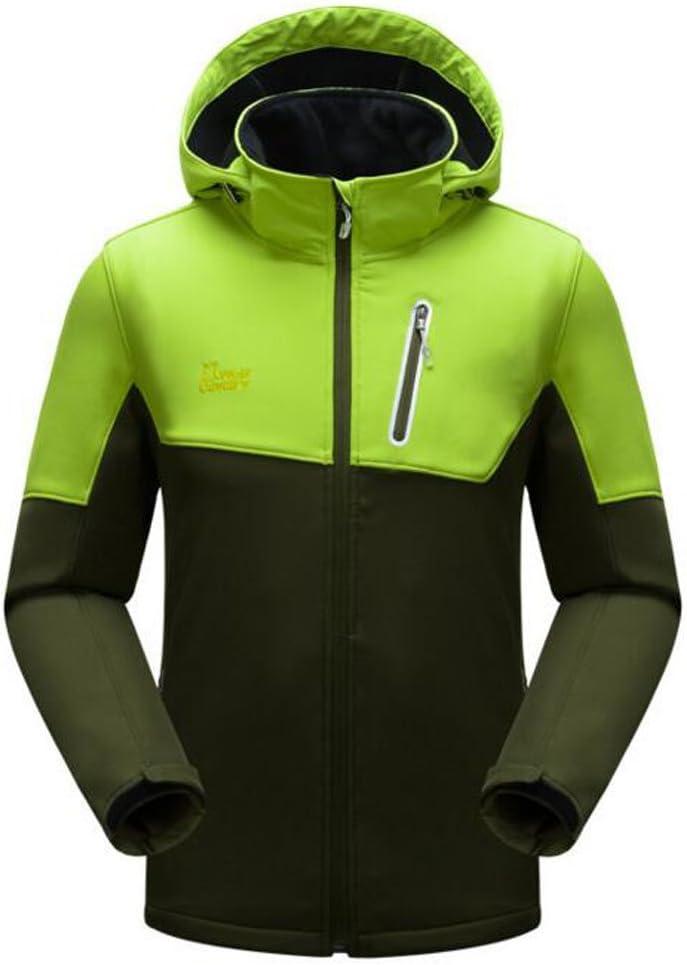 Men's Hooded Fleece Softshell Jacket Waterproof Outdoor Coat