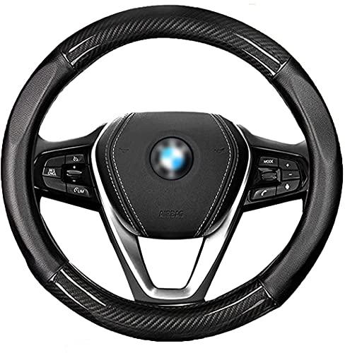 NUOMAN ハンドルカバー 軽自動車 普通車 ステアイングカバー 通気性いい 滑り止め 無臭 汎用 サイズ 36.5~39cm (ブラック)