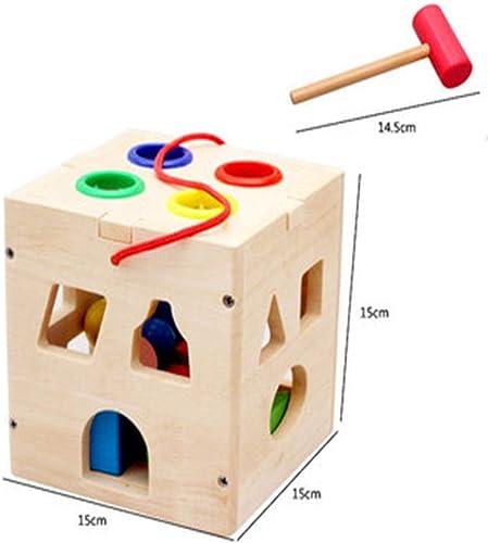 SEJNGF Bébé Jeune Enfant Forme Puzzle Force Boîte Forme Paire De Blocs De Construction Géométrie 1-3 Ans,17holeknockingintelligencebox