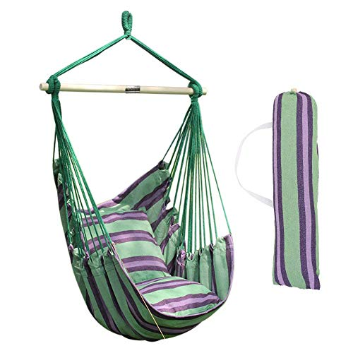 ANPPEX Hammock Swing Chair, with 2 Extra Padded Cushions and Wooden Support Bar, Indoor Outdoor Hanging Rope Hammock Chair Swing Seat, Contains Hook, Wooden Bar, Carry Bag