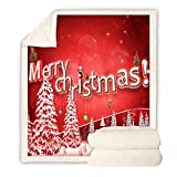 Hacrft Manta,Batamanta, Manta Cuadrada,Patrón de Navidad Imprimió El Saque de Sofá, Acondicionador de Aire Grueso Edredón para Regalo,Dormitorio,Sofá,Viajes,Niños (Color : Red, Size : 150 * 200CM)