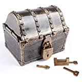 Leadtex Kids Pirate Treasure Chest Plastic Pirate Vintage Treasure Box,Bronze.