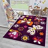SANAT Teppich Kinderzimmer - Lila Kinderteppich für Mädchen und Jungen Öko-Tex 100 Zertifiziert, Größe: 80x150cm