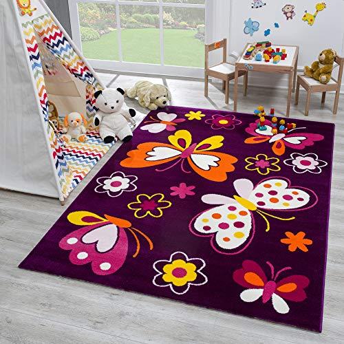 SANAT Teppich Kinderzimmer - Lila Kinderteppich für Mädchen und Jungen Öko-Tex 100 Zertifiziert, Größe: 160x230cm