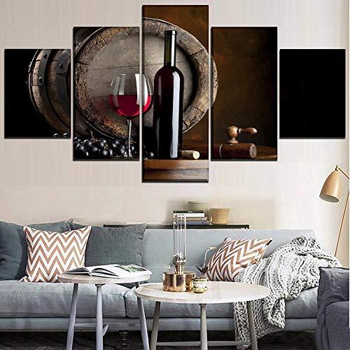 Xzfddn Vino tinto y taza y barriles de roble arte de pared Giclée paisaje lienzo impresiones para decoración del hogar, 5 paneles
