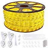 SURNIE Rope Lights Outdoor Waterproof 150ft RopeLighting 110V 3000k Warm White Led Strip Lights Cuttable Connectable for Deck Patio, Indoor Outside Use