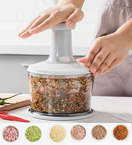 Lebensmittel-Zerkleinerer, schnell und leistungsstark, manueller Zerkleinerer zum Zerkleinern und Schneiden von Obst, Fleisch, Gemüse, Kräutern, Pfeffer, Eier, Zwiebeln für Salsa, Salat, Pesto, Hummus
