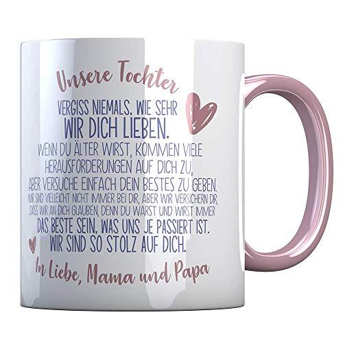Tassenbude Tasse von Mama und Papa für die Tochter - Kaffeetasse - rosa/Verwandte/Geschenk-Idee/Liebling/Familie spülmaschinenfest