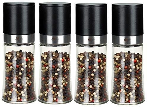 freiwerk Pfeffermühle Salzmühle 4er Set Keramikmahlwerk Chilimühle - ohne Gewürzinhalt - 150ml schwarz mit Edelstahl