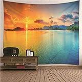 Aeici Wandbehang Hippie,Wandtuch Kinderzimmer Sonnenuntergang See Landschaft Colorful Wandteppich 260X240CM