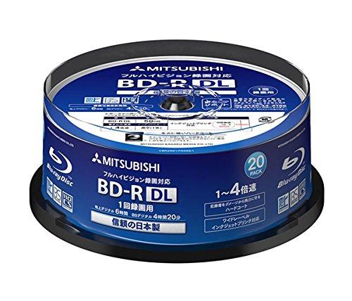 Verbatim Bluray Discs, 50 GB, BD-R DL, 4x Geschwindigkeit, bedruckbar, für Tintenstrahldrucker geeignet, hergestellt in Japan, 20 Stück