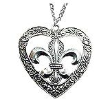 Diseño Vintage de bronce o color de plata 58* 57mm), diseño de flor de lis en corazón colgante collar, 70cm de cadena larga collar