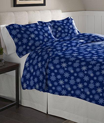 Pointehaven Franela de edredón Conjunto, Copos de Nieve Azul Marino, King