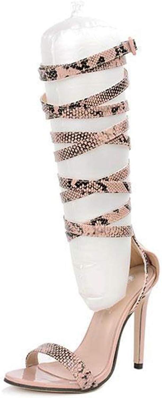 Women High Heels Peep-Toe Cross Straps Hollow Snakeskin Fashion Elegant Sandals