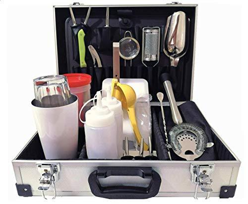 Generico Kit de maleta profesional para barman con accesorios para cócteles, bares, tool y coctelera
