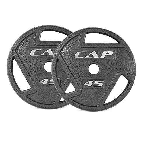CAP Barbell Black 2-Inch Olympic Grip Plate, 45-Pounds, Pair