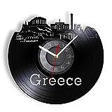 Reloj de Pared Decorativo con Paisaje de Grecia Atenas, Estilo mediterráneo, Acrópolis de Atenas, Paisaje Urbano de Santorini, Reloj de Pared con Arte LED de Vinilo de 12 Pulgadas