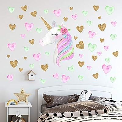 Unicorn Wall Decals,Unicorn Wall Sticker Decor with Heart Flower Birthday Christmas Gifts for Boys Girls Kids Bedroom Decor Nursery Room Home Décor