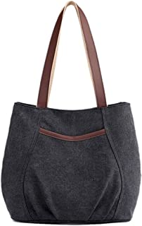 DISSA Damen Canvas Handtaschen Lässige Schultertasche Top Griff Tasche Reißverschluss Leinentasche Tragetasche Tasche,30x1...