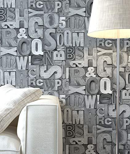 NEWROOM Tapete Grau Buchstaben Schrift Vliestapete Vlies moderne Design Optik Mustertapete inkl. Tapezier Ratgeber
