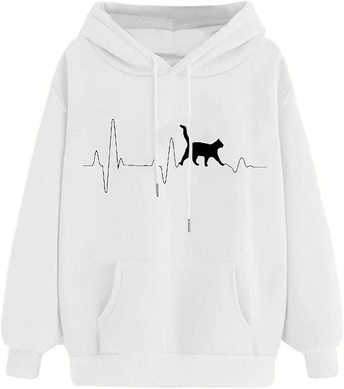 Toeava Sweatshirt for Women,Women's Fashion Cat Long Sleeve Hoodies Pullover Teen Girls Hooded Sweatshirt with Pocket
