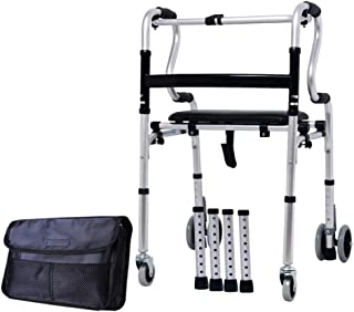 Walker Rollator Walker Rolling Walkers Fold Rollator Rollator Thick Aluminum Alloy Walkers for Seniors Walker with Seat and Four Rounds (Color : Silver, Size : 50 * 62 * 95cm)
