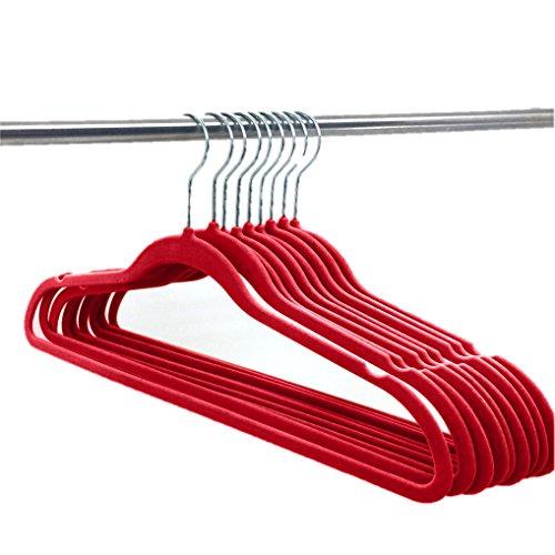 Elaine Karen Deluxe Designer Non Slip Heavy Duty Velvet Hangers  Burgundy  10pk