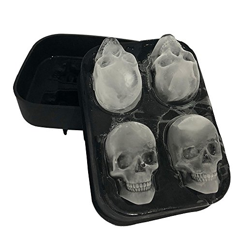 Stritra - 3D Skull Silicone jello Ice Mold Flexible Cube Maker Tray for Christmas Party. Best for Whiskey and Cocktails