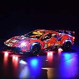Elroy369Lion Kit de iluminación LED RC para Lego Ferrari 488 GTE 42125, juego de luces de decoración para Lego 42125 (no incluye modelo Lego)