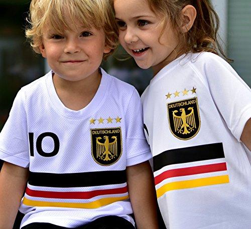 Deutschland Trikot mit GRATIS Wunschname Nummer Wappen Typ #D19 günstig im EM/WM Weiss - Geschenke für Kinder,Jungen,Baby. Fußball T-Shirt personalisiert