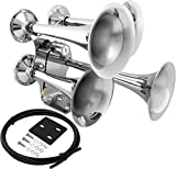 Vixen Horns Train Horn for Truck/Car. 4 Air Horn Chrome Plated Heavy Duty Trumpets. Super Loud dB. Fits 12v Vehicles Like Semi/Pickup/Jeep/RV/SUV VXH4318